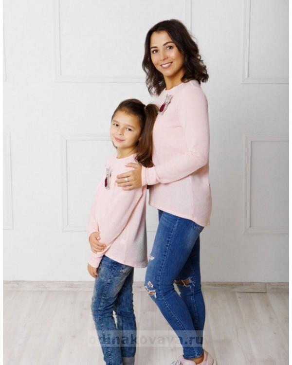 Комплект джемперов для мамы и дочки Зайка М-2043 цвет розовый
