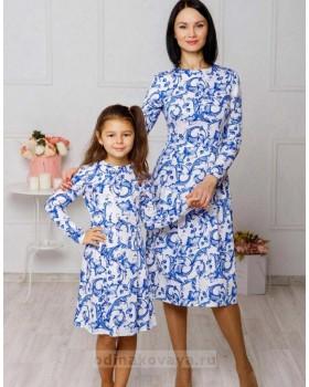 Комплект платьев в стиле family look Версаль М-2044