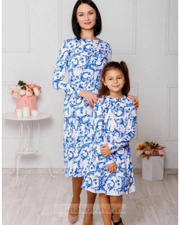 Комплект платьев в стиле family look Версаль М-2044 цвет белый