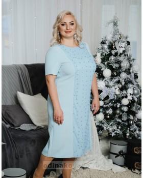 Коктейльное платье Бусинки PLUS М-2049