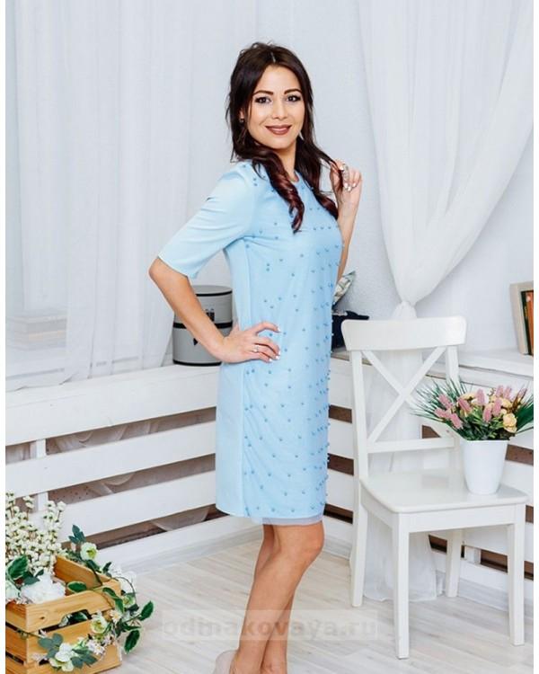 Коктейльное платье Бусинки М-2049 цвет голубой