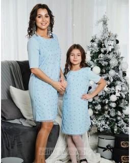 Комплект платьев Family Look для мамы и дочки Бусинки М-2049