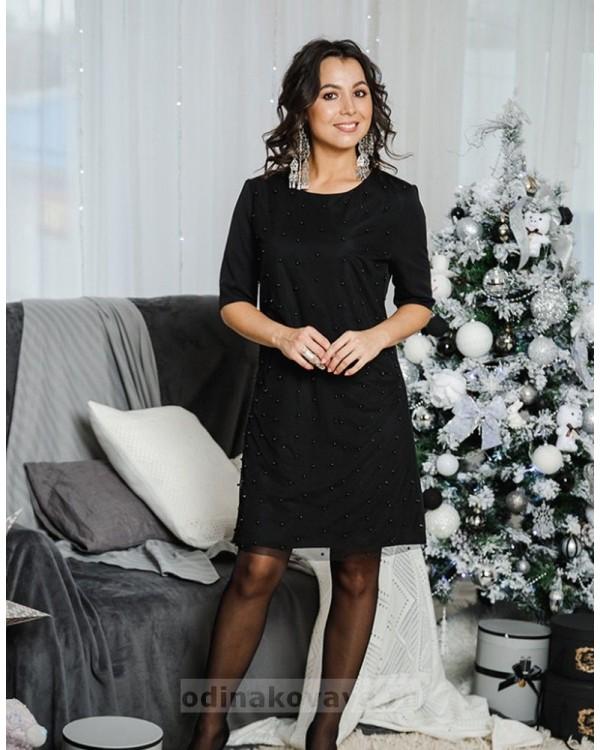 Коктейльное платье Бусинки М-2049 цвет черный