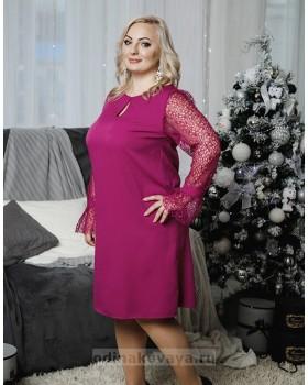 Коктейльное платье с кружевными рукавами Паутинка PLUS М-2051