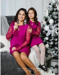 Комплект платьев Family Look для мамы и дочки Паутинка М-2051