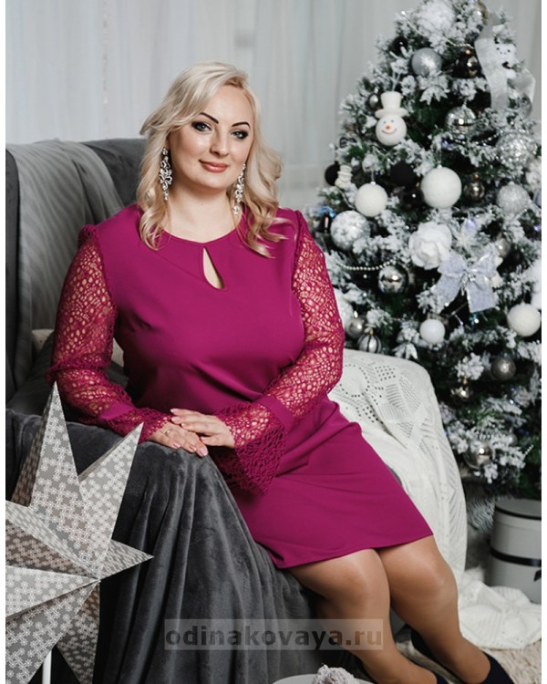 Комплект платьев Family Look для мамы и дочки Паутинка М-2051 цвет фуксия