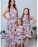 Комплект летних платьев Family Look для мамы и дочки Экзотика М-2082 цвет розовый
