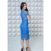 Комплект кружевных платьев для мамы и дочки Вивьен М-2131 синий