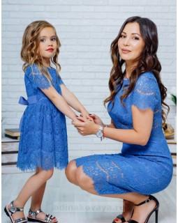 Комплект кружевных платьев для мамы и дочки Вивьен М-2131
