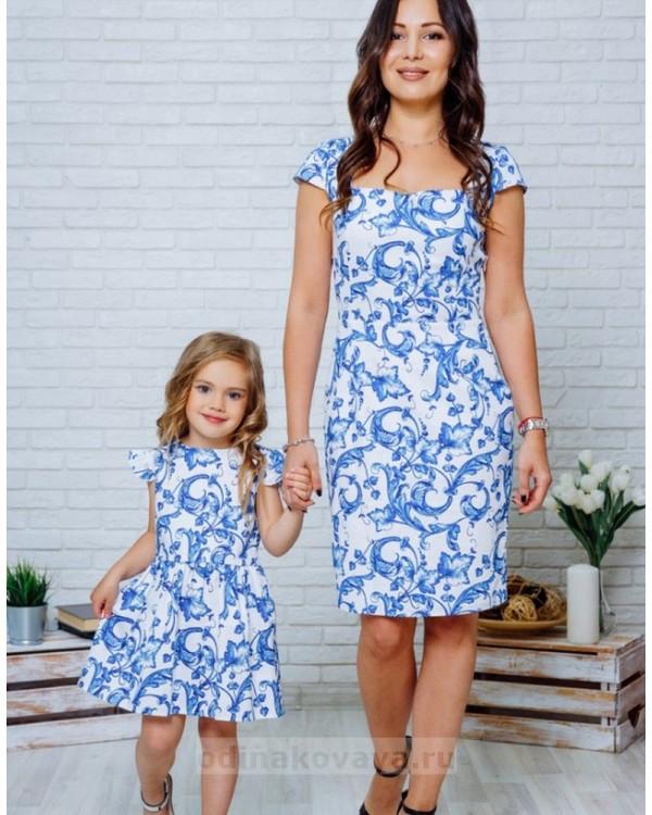 Комплект летних платьев в стиле Family Look для мамы и дочки Марсель М-2132 синий