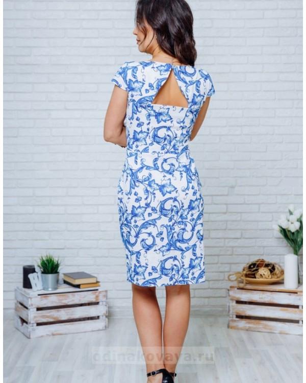 Летнее платье с открытой спинкой Марсель М-2132 синий