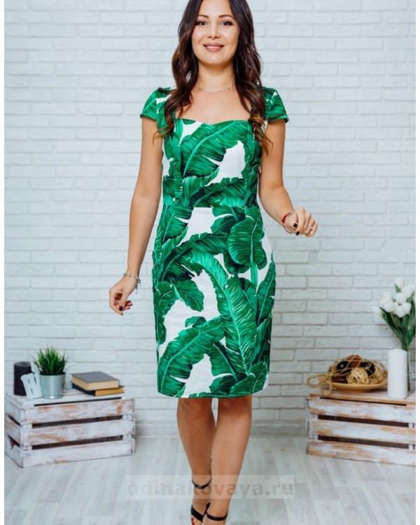 Летнее платье с открытой спинкой Марсель М-2132 зеленый