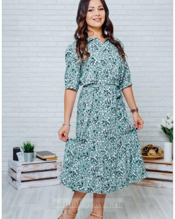 Платье с цветочным принтом Флоренция М-1134 хаки