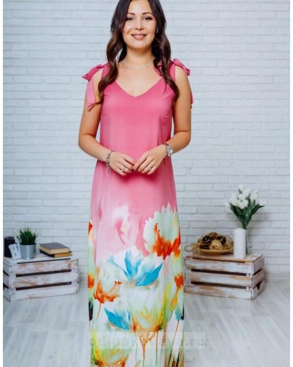 Длинное платье в пол с цветочным принтом Камелия М-1135 розовый