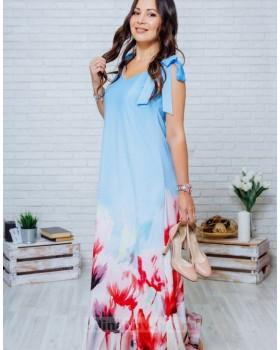 Длинное платье в пол с цветочным принтом Камелия М-1135