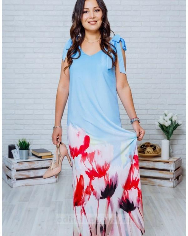Длинное платье в пол с цветочным принтом Камелия М-1135 голубой