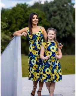 Комплект летних платьев в стиле Family Look для мамы и дочки Подсолнухи М-2138