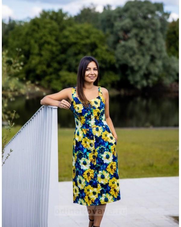 Летнее платье на пуговицах Подсолнухи М-2138