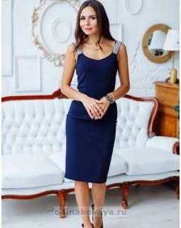 Коктейльное платье футляр Бриджит М-2149 синий