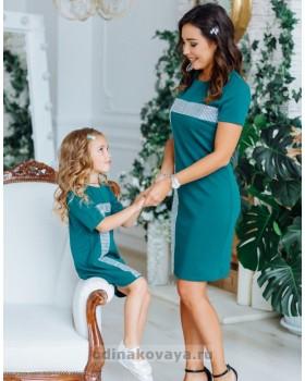 Комплект нарядных платьев в стиле Family Look для мамы и дочки Муза М-2150 темная бирюза