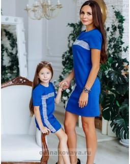 Комплект нарядных платьев в стиле Family Look для мамы и дочки Муза М-2150 синий