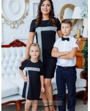 Комплект нарядных платьев в стиле Family Look для мамы и дочки Муза М-2150 черный