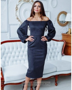 Коктейльное замшевое платье-миди М-1148 черный