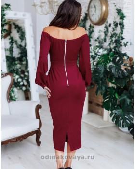 Коктейльное замшевое платье-миди М-1148 бордовый