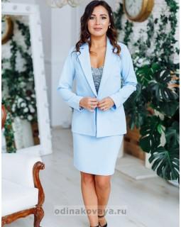 Деловой костюм с юбкой Меган М-2151 голубой