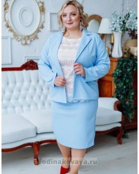 Деловой костюм с юбкой Меган PLUS М-2151 голубой