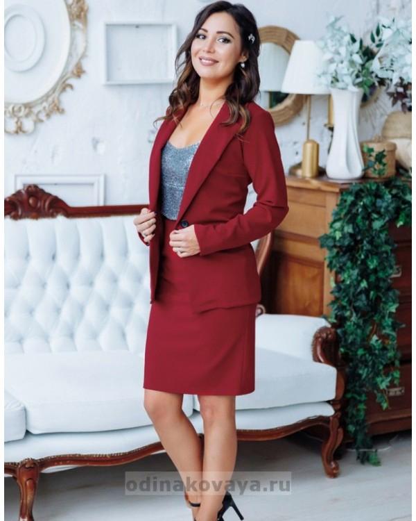 Деловой костюм с юбкой Меган М-2151 бордовый