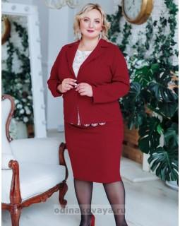 Деловой костюм с юбкой Меган PLUS М-2151 бордовый
