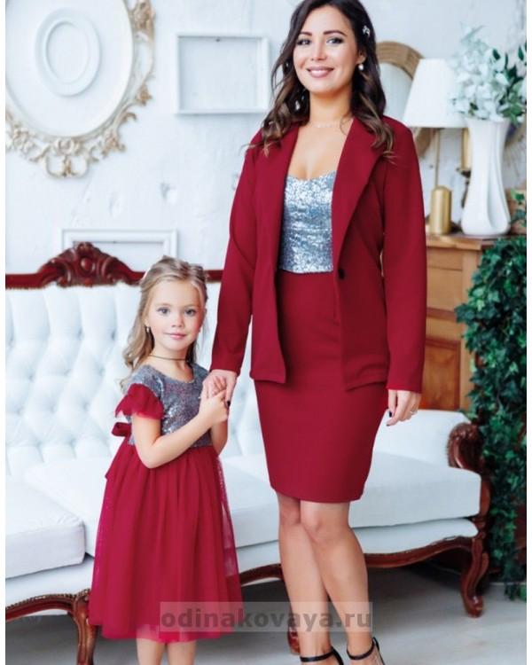 Комплект в стиле Family Look костюм для мамы и платье для дочки Меган М-2151 бордовый