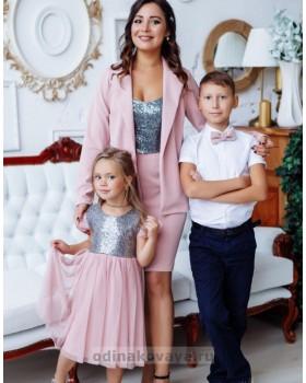 Комплект в стиле Family Look костюм для мамы и платье для дочки Меган М-2151 персиковый