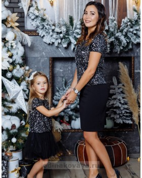 Комплект топов в стиле Family Look для мамы и дочки Каролина М-2145 серебро