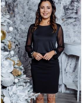 Блуза с рукавами из сетки в горошек М-1098  черный