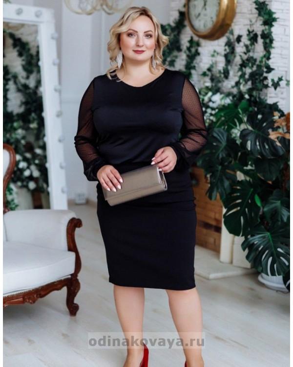 Блуза с рукавами из сетки в горошек  PLUS М-1098  черный