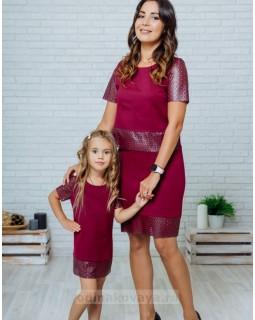 Комплект в стиле Family Look костюм с юбкой для мамы и платье для дочки Милан М-2139 фиолетовый