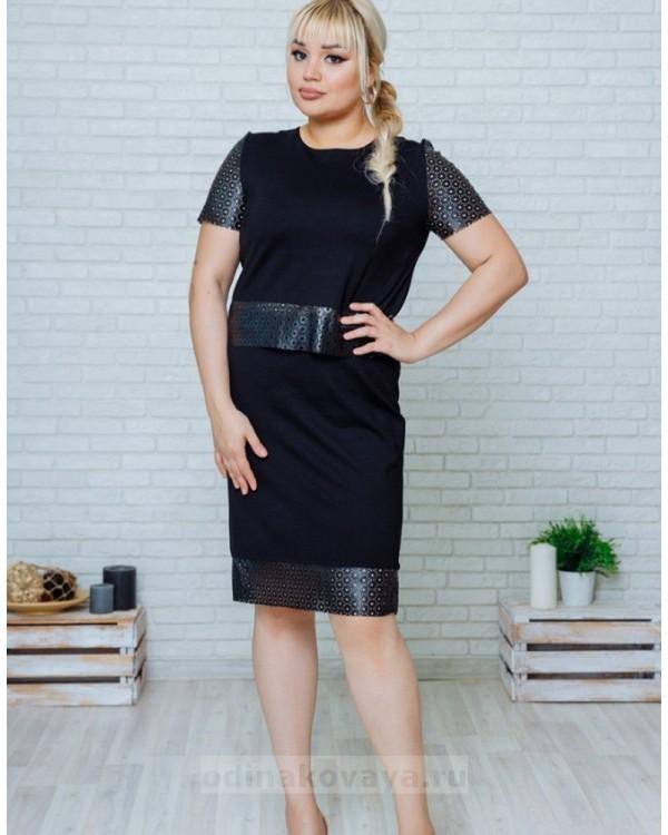 Комплект в стиле Family Look костюм с юбкой для мамы и платье для дочки Милан М-2139 черный