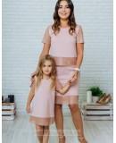 Комплект в стиле Family Look костюм с юбкой для мамы и платье для дочки Милан М-2139 пудровый