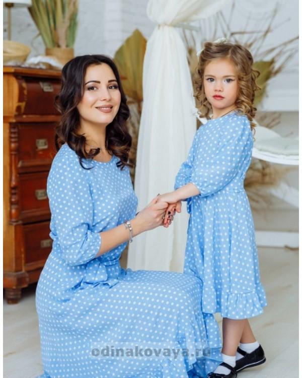 Комплект платьев из штапеля для мамы и дочки Мари М-2158 голубой