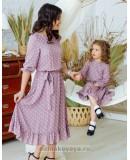 Комплект платьев из штапеля для мамы и дочки Мари М-2158 роза
