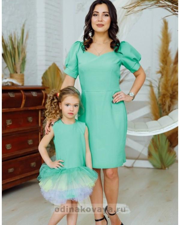 Комплект платьев в стиле Family Look Лайм М-2161 мятный