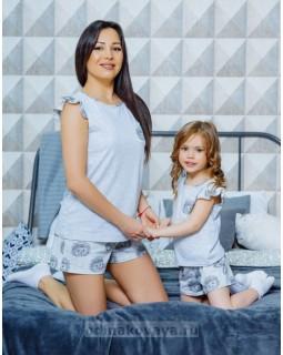 Комплект пижам для мамы и дочки в стиле family look Милашка М-2124