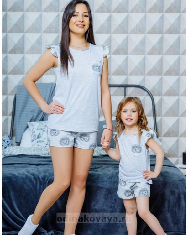 Комплект пижам для мамы и дочки в стиле family look Милашка М-2124 цвет серый