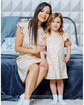 Комплект домашних платьев в стиле family Look для мамы и дочки Монпансье М-2125
