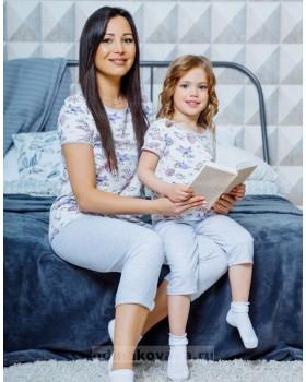 Домашний комплект в стиле family Look для мамы и дочки Мышки М-2127