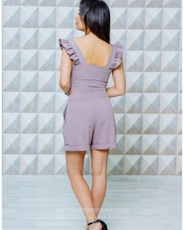 Стильный женский комплект шорты и топ Зара М-1129 цвет пудровый