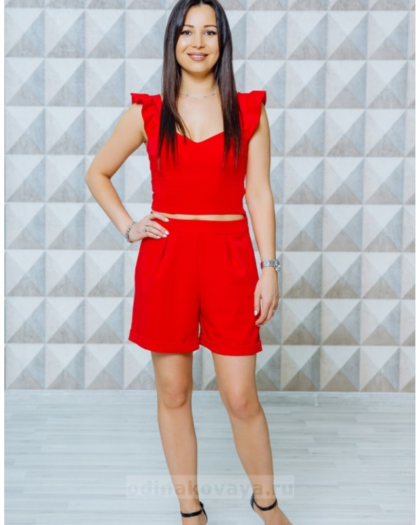 Стильный женский комплект шорты и топ Зара М-1129 цвет красный