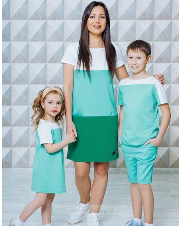 Летний комплект одежды для мамы и сына Триада М-2130 цвет зеленый